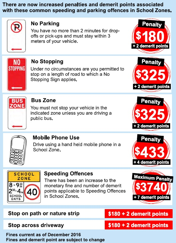 School zone related different types of fines' details