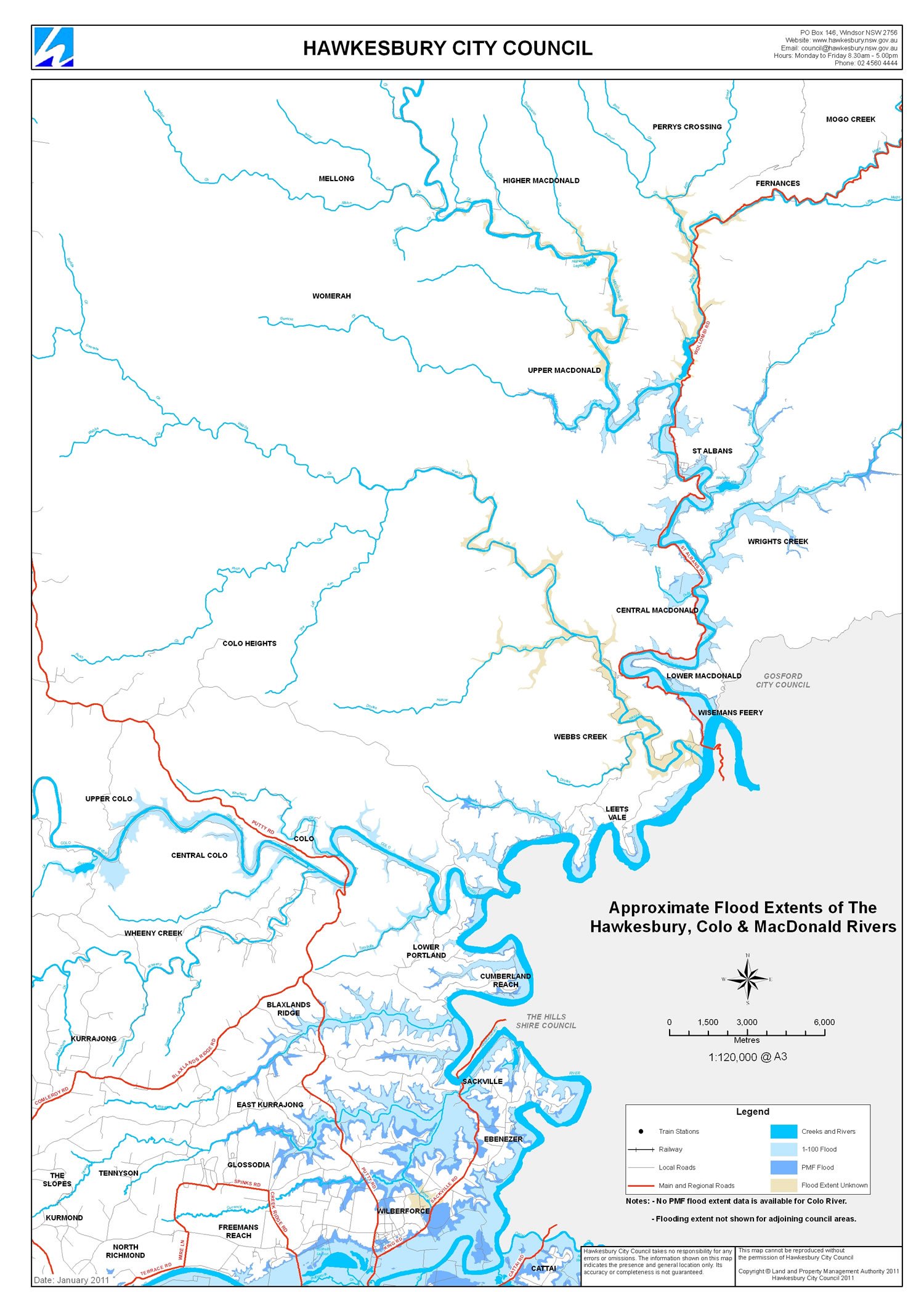 Flood Extent Maps Hawkesbury City Council - Colo river map